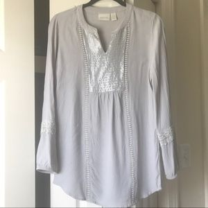 Chico's silver gray tunic top long sleeve small 0